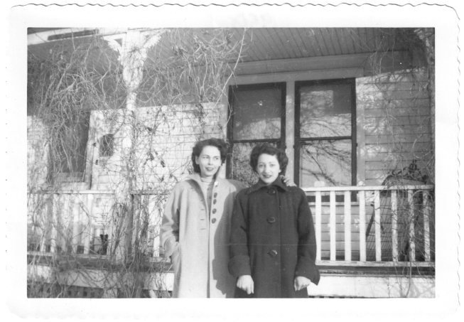 My Godmother, Auntie Dot on the left giving my 24- year old mother Trudy, a sideways smile confirming the joy Trudy feels. It's Edmonton in the spring and my mother is happy because she has announced her marriage to my father, Tap, which will take place the following August 6th.